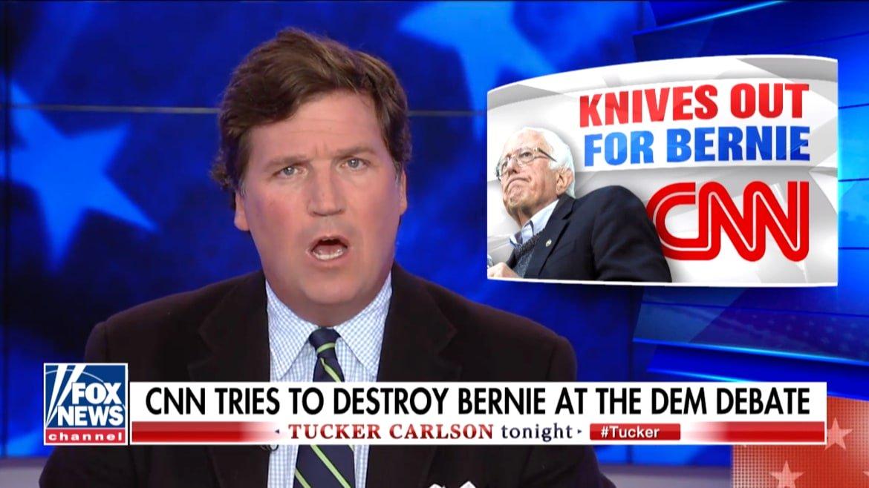 Tucker Carlson Goes Full Bernie Bro in Attack on CNN
