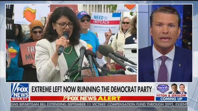 Fox News Host Pete Hegseth Accuses Rashida Tlaib of Having a 'Hamas Agenda'