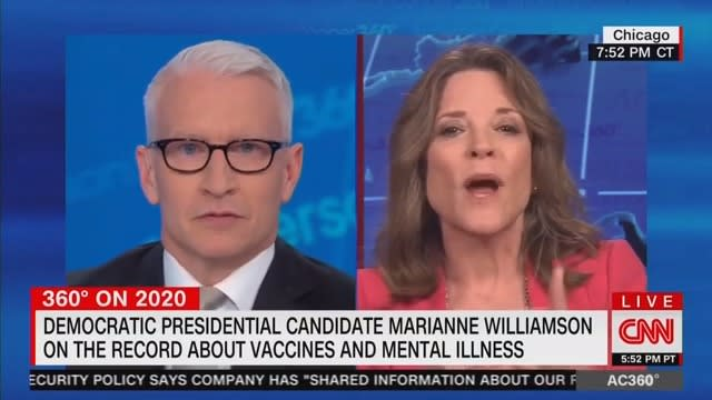 Grilled on Remarks About Mental Illness, Marianne Williamson Accuses Anderson Cooper of 'Casting Aspersions'