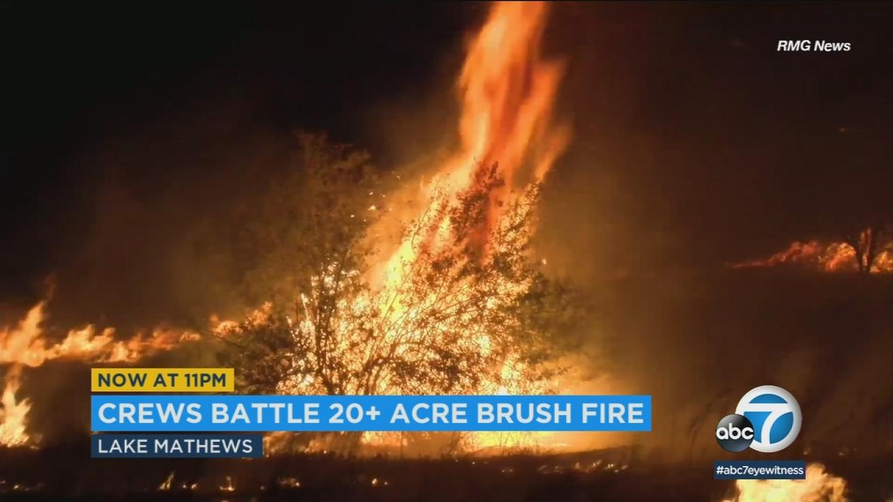 Fire burns 20 acres in Lake Mathews