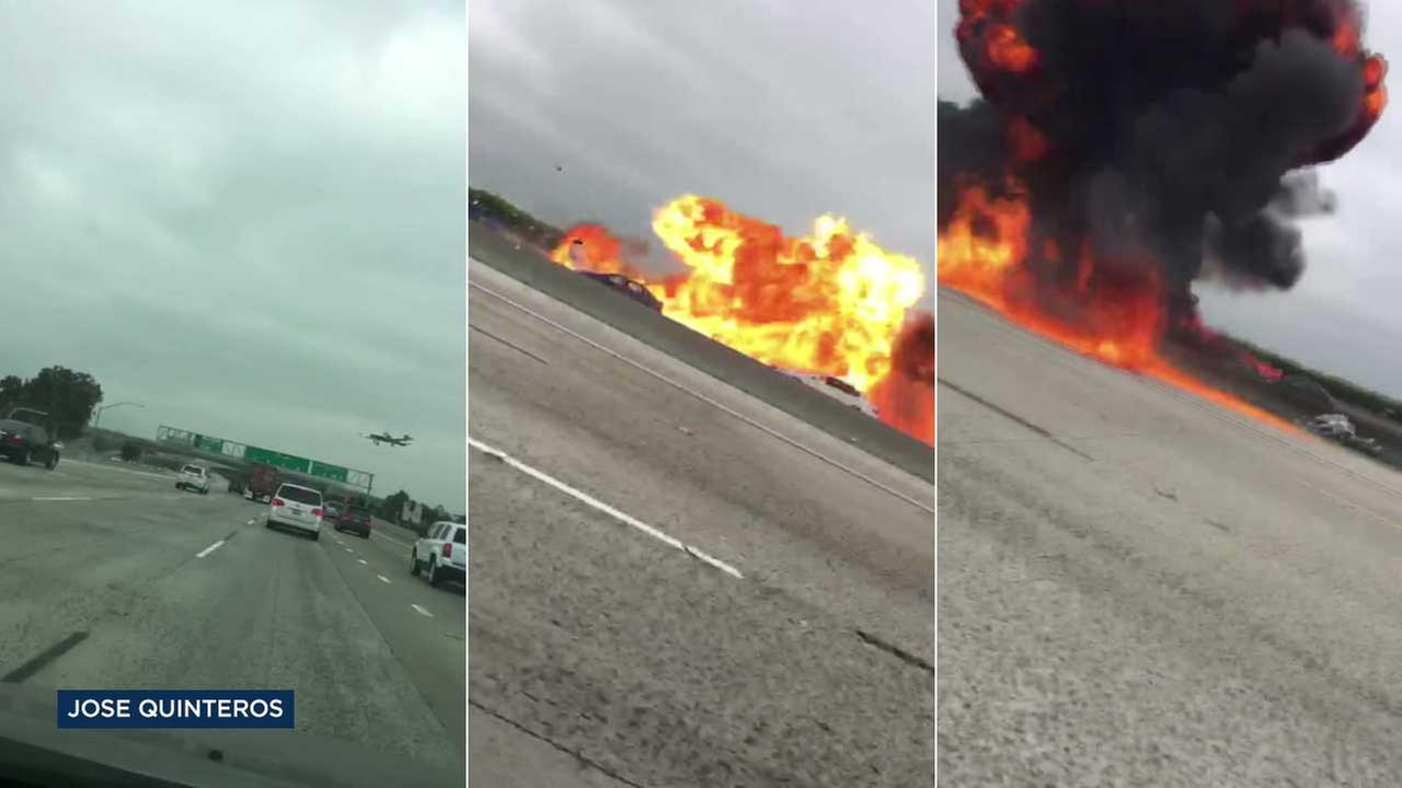 Small plane crashes on 405 Freeway near John Wayne Airport