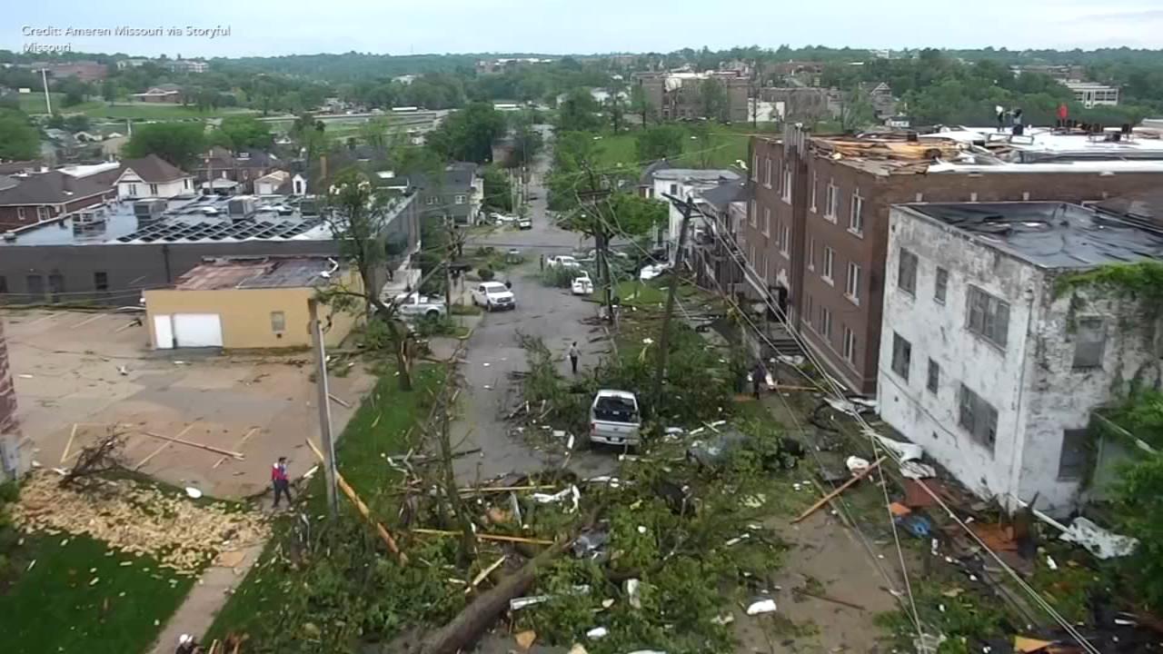 New drone video shows wide scope of Missouri tornado damage