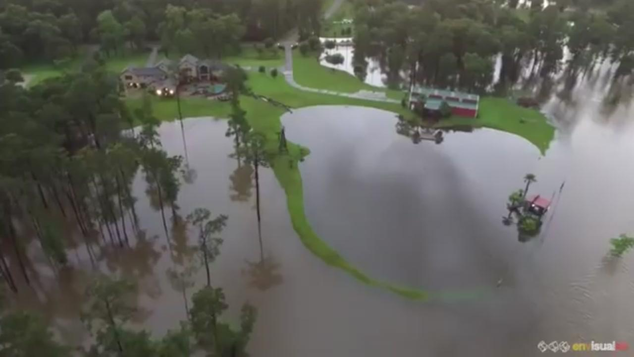 The Woodlands Texas Flooding >> Video Drone Shows Extent Of Flooding In The Woodlands Video