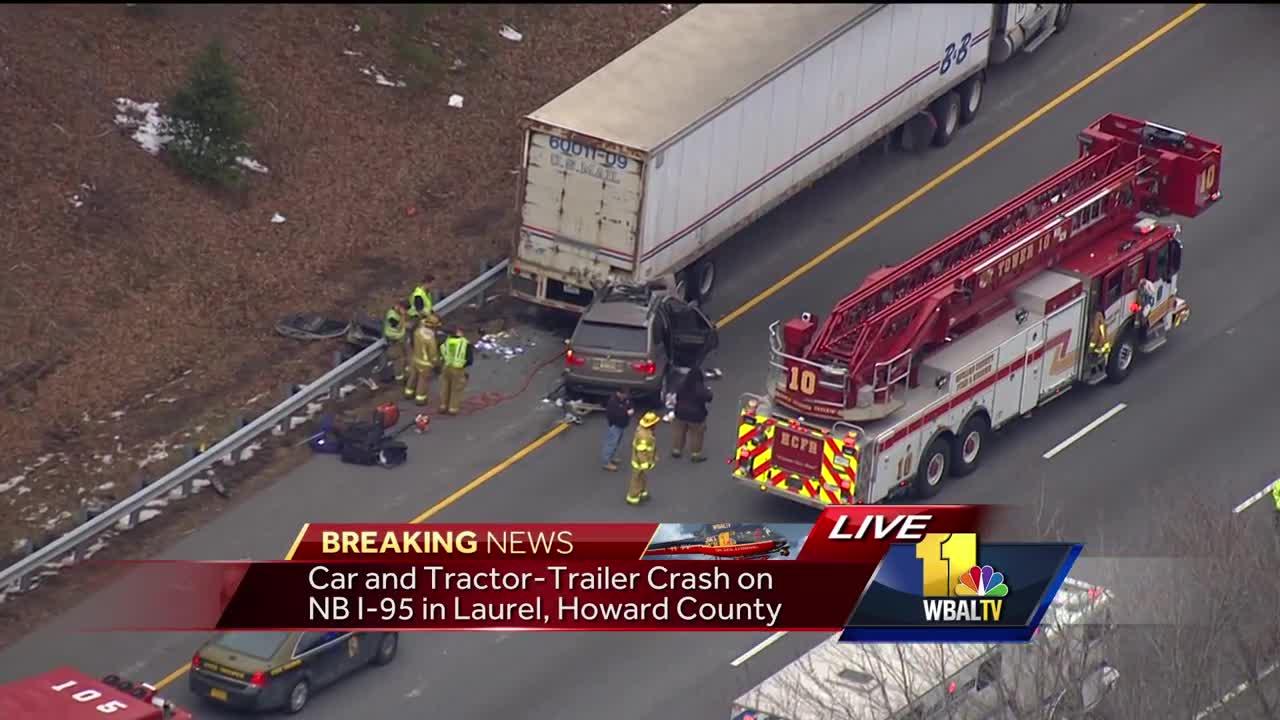 Video: Car slams into tractor-trailer along I-95 [Video]