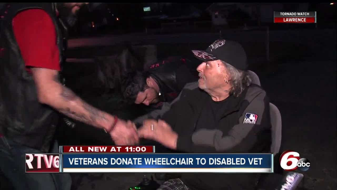 Motorcycle club of veterans donate wheelchair to disabled