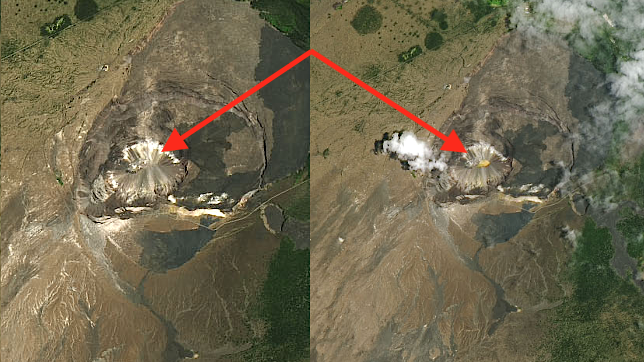 Photos taken 1 year apart show potentially troubling sign in volcano