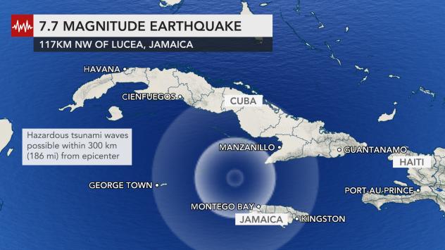 Major earthquake hits between Cuba and Jamaica
