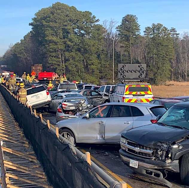 63-car pileup shuts down Interstate 64 in Virginia