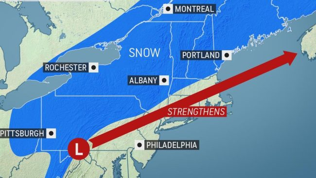 Swath of snow to threaten northeastern US as fresh cold invades next week