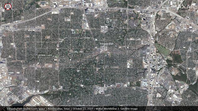 Dallas tornado satellite image