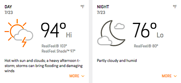 July 23, 2020, AccuWeather forecast for Nationals Park in Washington, D.C.