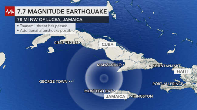 Magnitude 7.7 earthquake jolts Caribbean, sparks tsunami fears throughout region