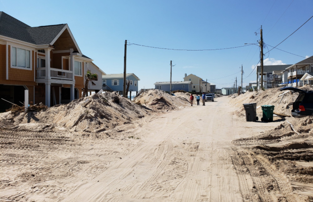 Florence covered this portion of Surf City's North Shore Drive in sand between Jones Avenue and Craven Avenue. (NWS / Carl Morgan)