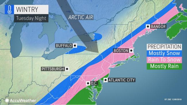Arctic blast to usher in rapid freeze-up, snow potential behind early-week flooding threat in Northeast