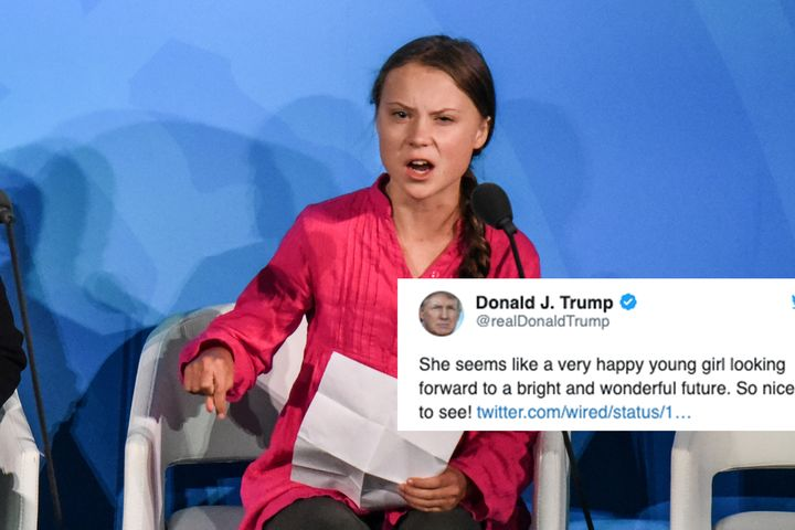 Trump spent his night making fun of teen activist Greta Thunberg