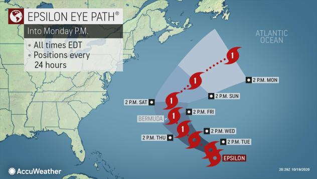 Epsilon forecast to become a hurricane approaching Bermuda