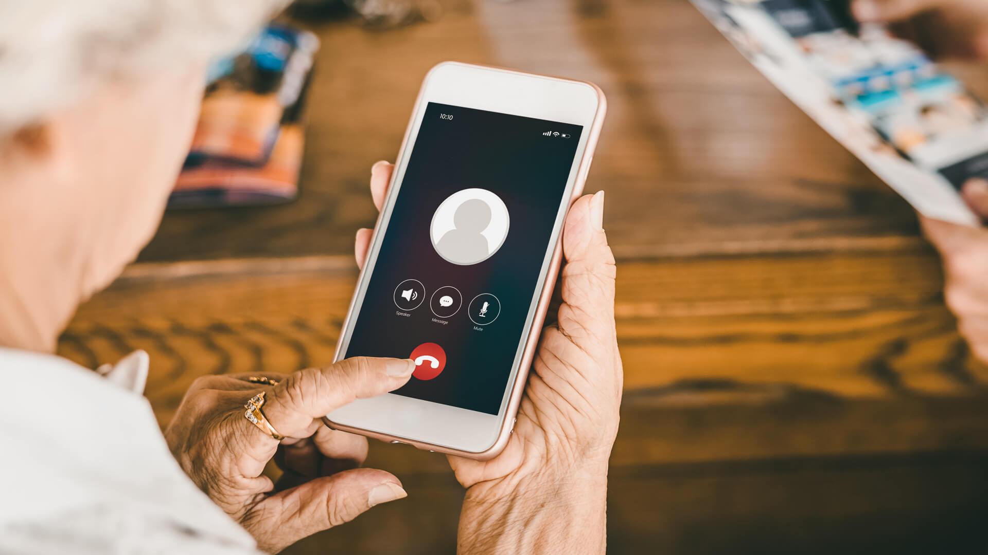 senior woman phone call