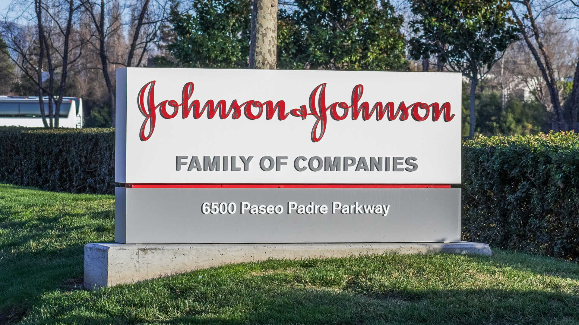 February 3, 2018 Fremont / CA / USA - Johnson & Johnson logo in front of one of their office buildings, Fremont, East San Francisco bay area, California.