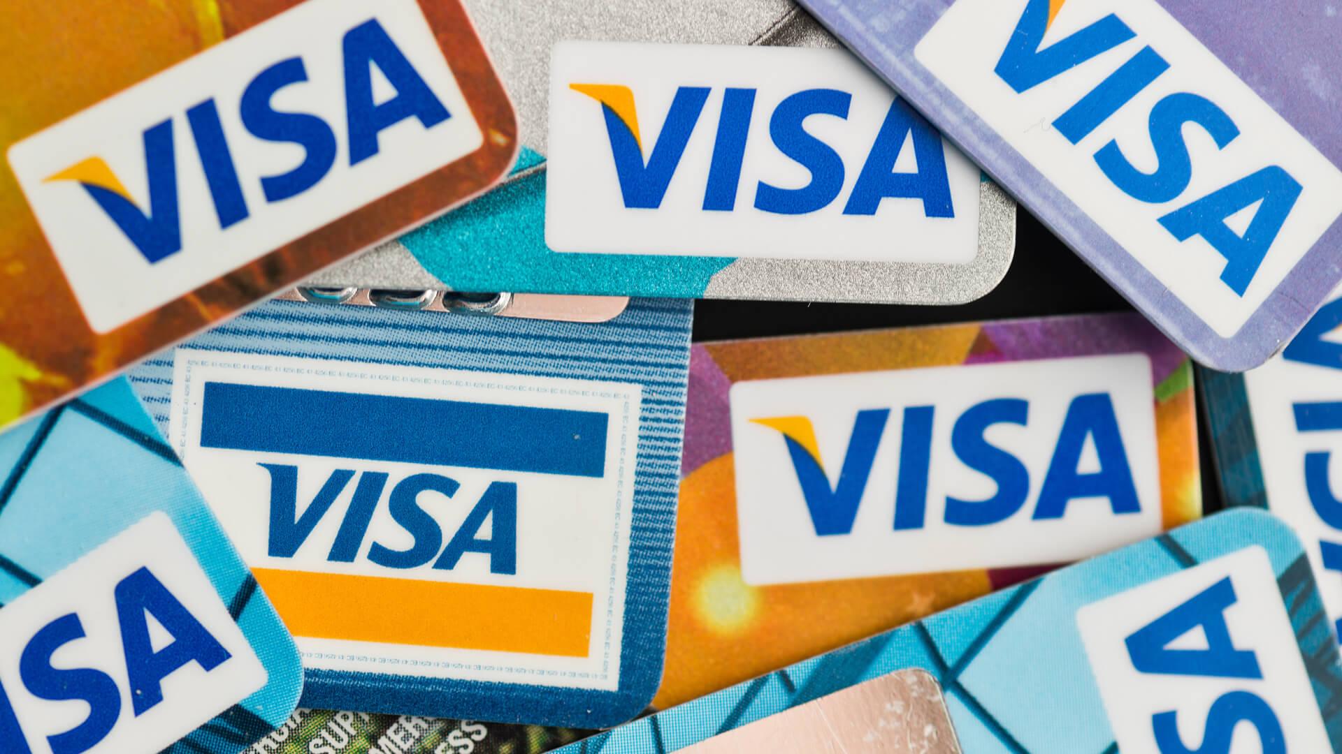 YEKATAERINBURG, RUSSIA - JAN 07, 2015: Pile of Visa credit cards.