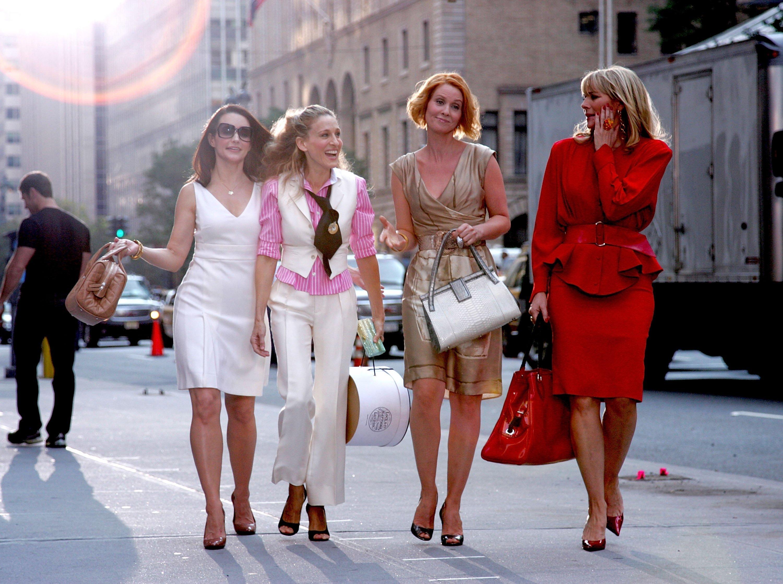 Image: Image: Kristin Davis, Sarah Jessica Parker, Cynthia Nixon and Kim Cattrall on Location for