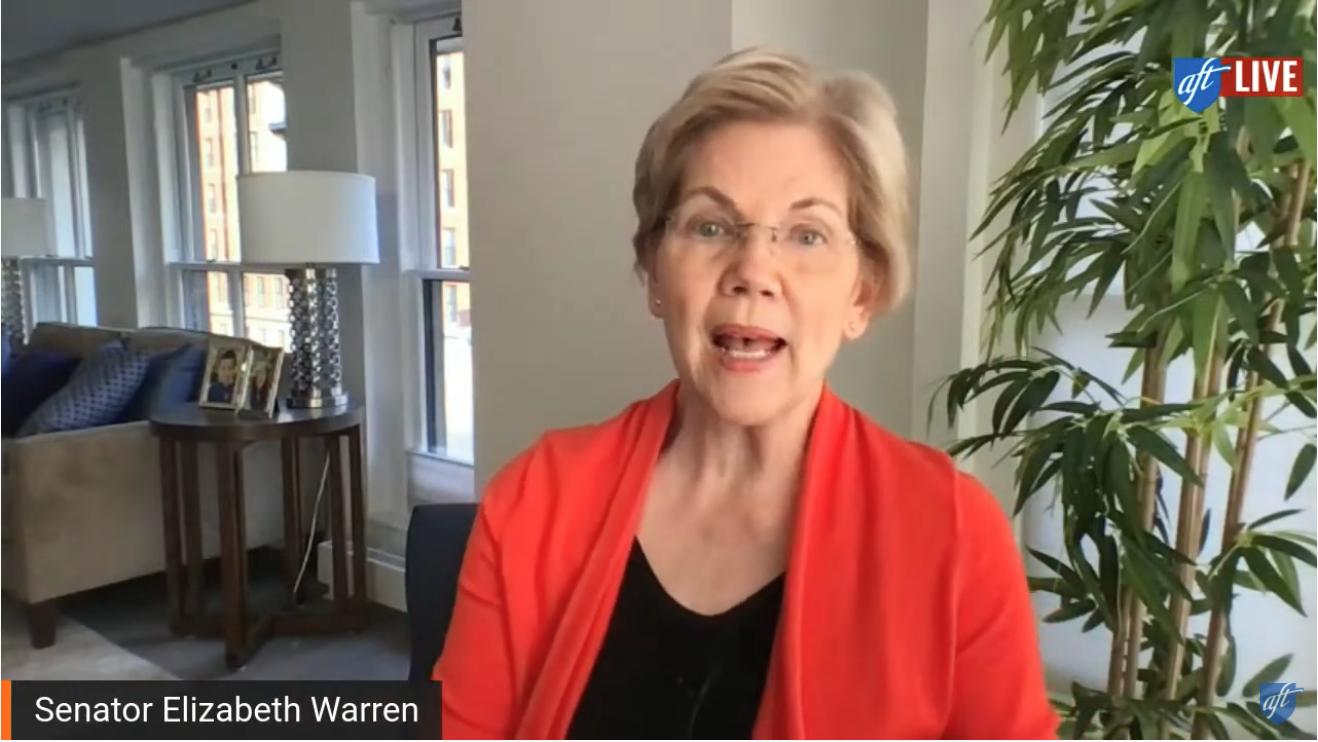 Screenshot of Warren during the AFT town hall