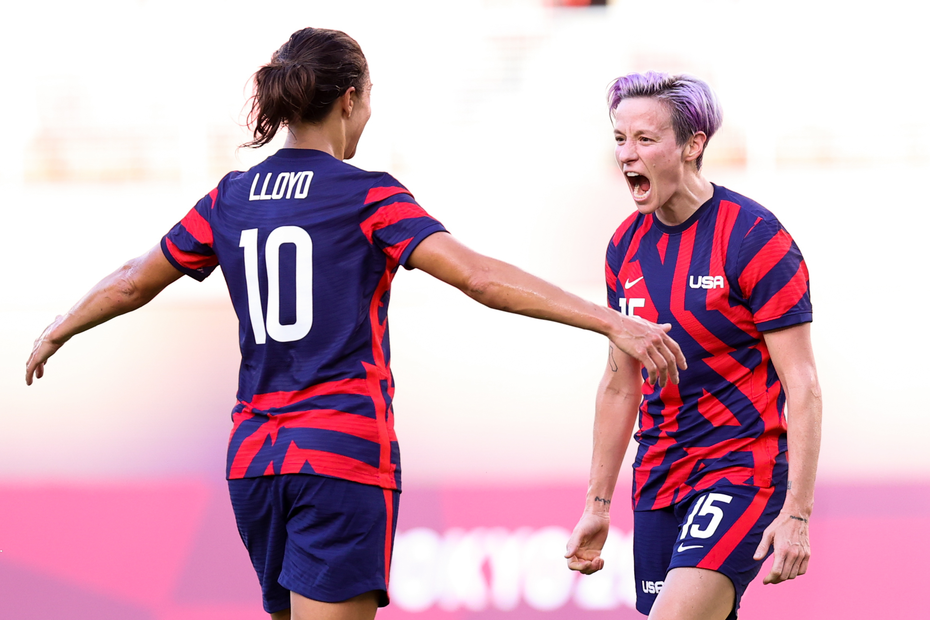 Carli Lloyd and Megan Rapinoe scored all four goals for the USWNT in their Olympic bronze medal match victory over Australia. (Photo by Zhizhao Wu/Getty Images)