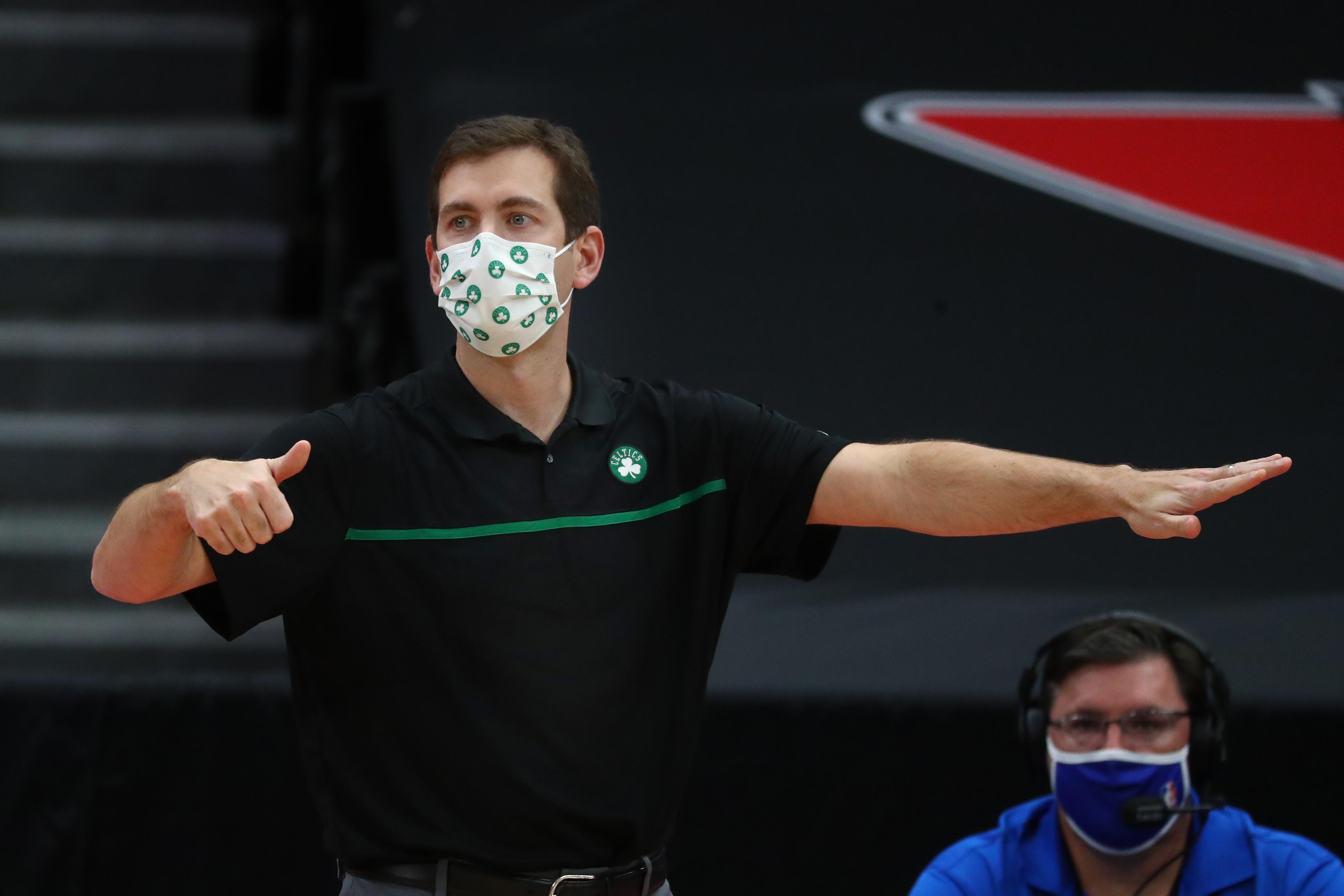 Jan 4, 2021; Tampa, Florida, USA; Boston Celtics head coach Brad Stevens against the Toronto Raptors during the second half at Amalie Arena. Mandatory Credit: Kim Klement-USA TODAY Sports