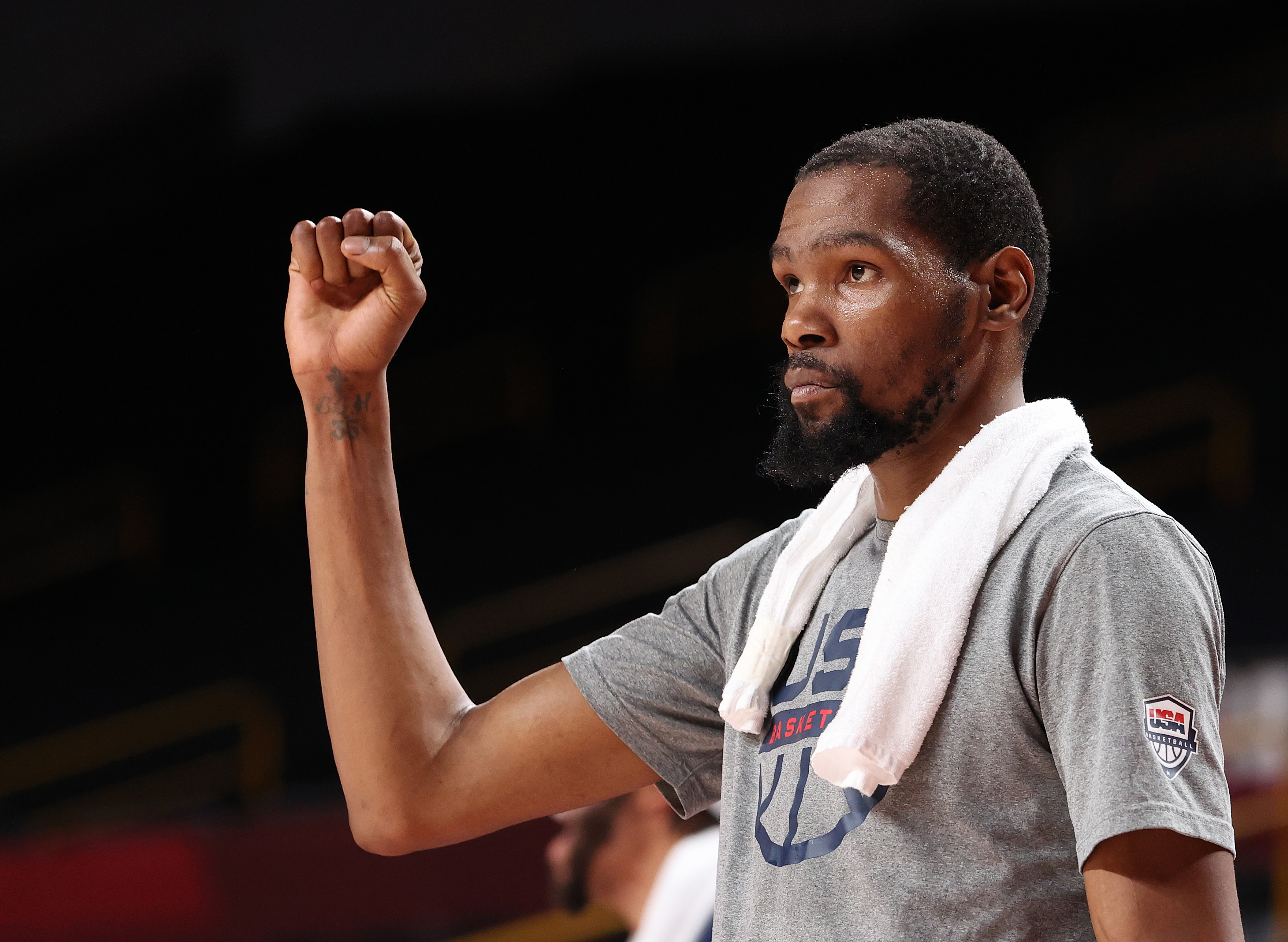 SAITAMA, JAPAN - AUGUST 05: Kevin Durant #7 of Team United States reacts from the bench during the second half of a Men's Basketball quarterfinals game between Team United States and Team Australia on day thirteen of the Tokyo 2020 Olympic Games at Saitama Super Arena on August 05, 2021 in Saitama, Japan. (Photo by Gregory Shamus/Getty Images)