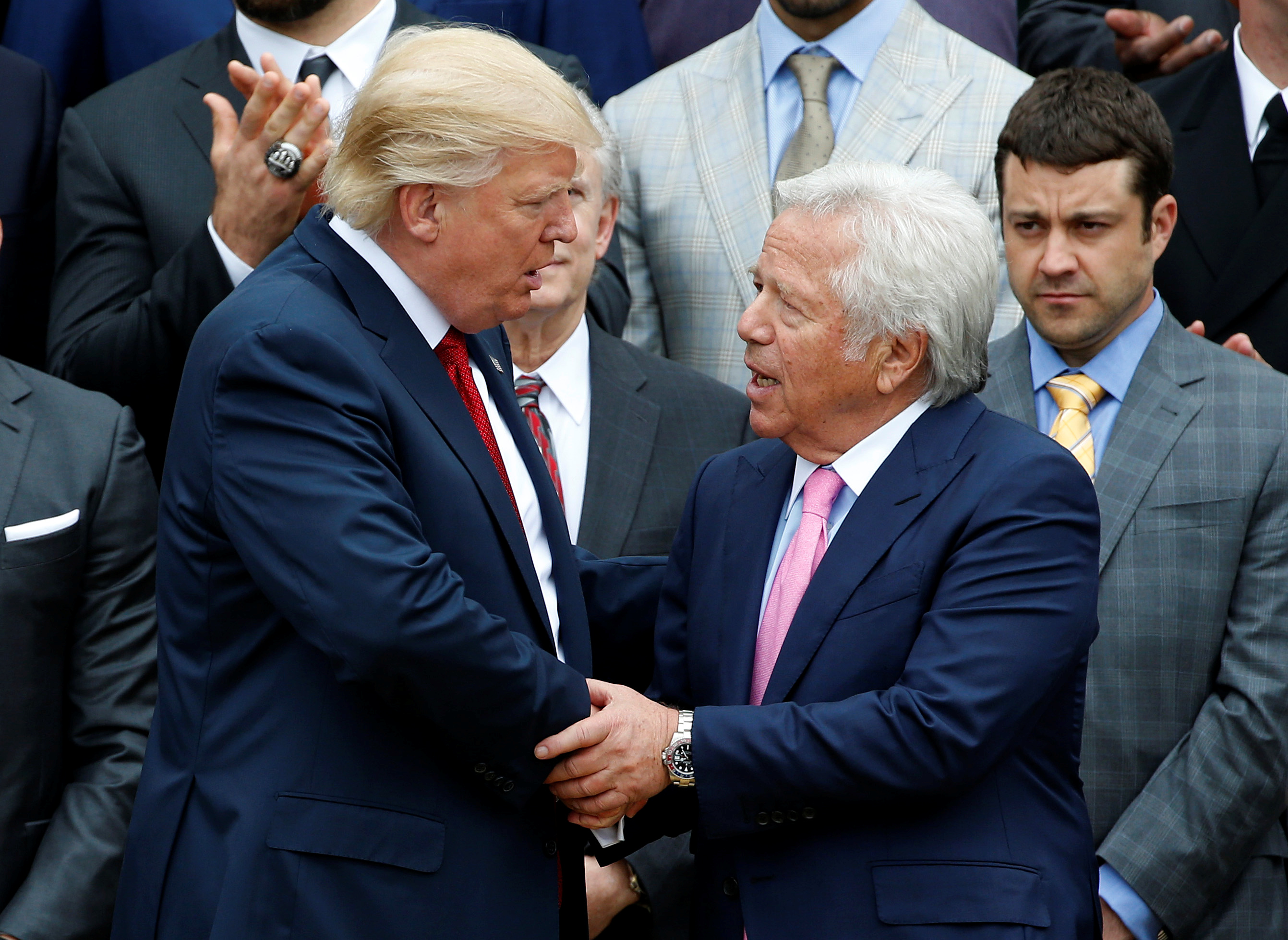 According to ESPN, Donald Trump was acting on behalf of Patriots owner Robert Kraft when he tried to offer Sen. Arlen Specter campaign money if he ended his investigation into Spygate. (REUTERS/Joshua Roberts)