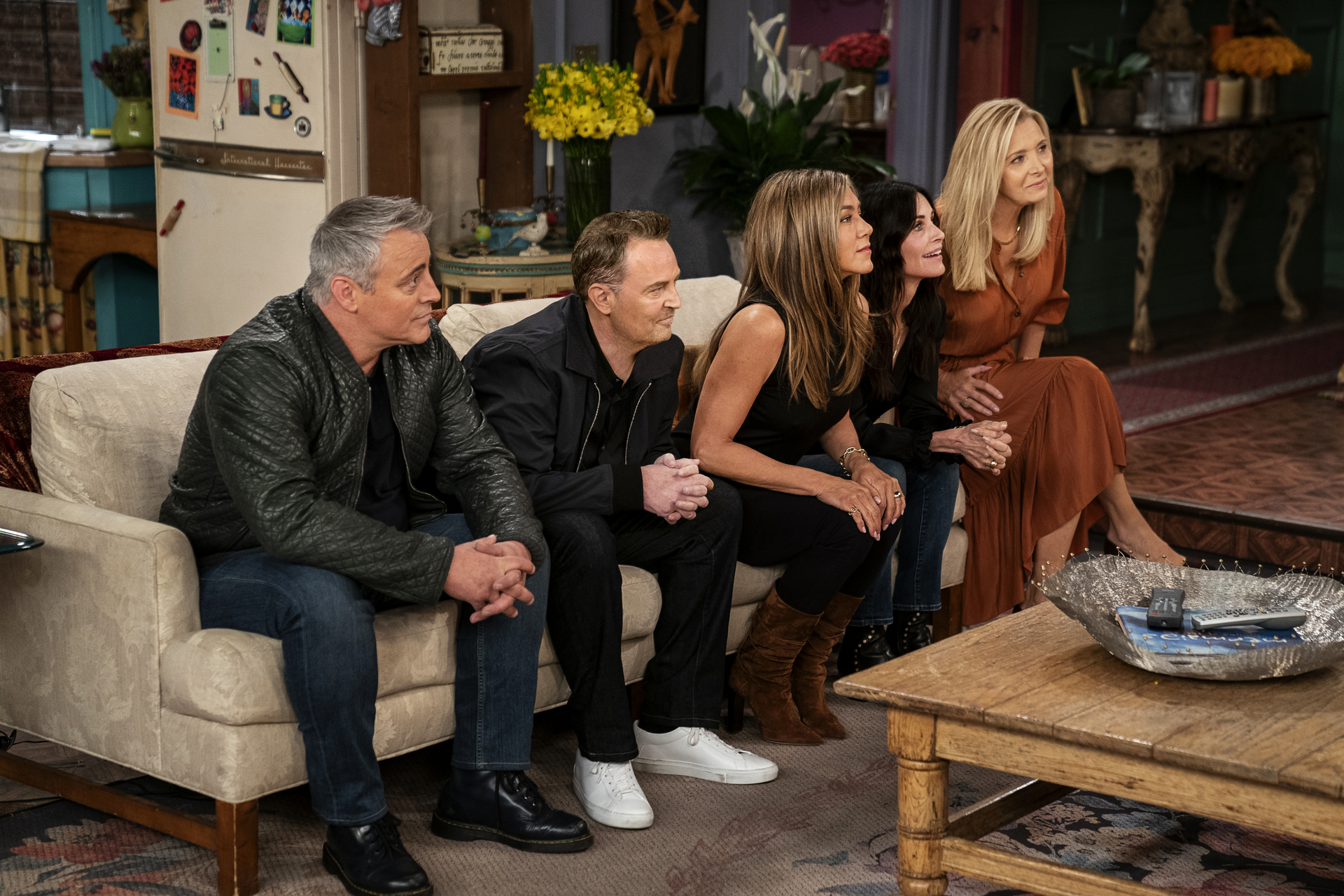 The cast of 'Friends' gets ready for a round of trivia in the HBO Max reunion special (Photo: Terence Patrick/HBO Max)