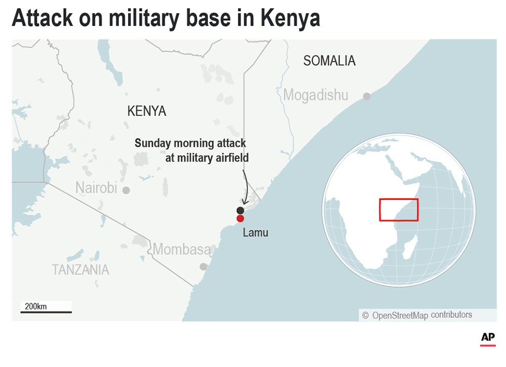 Extremists attack Kenya military base, 3 Americans killed