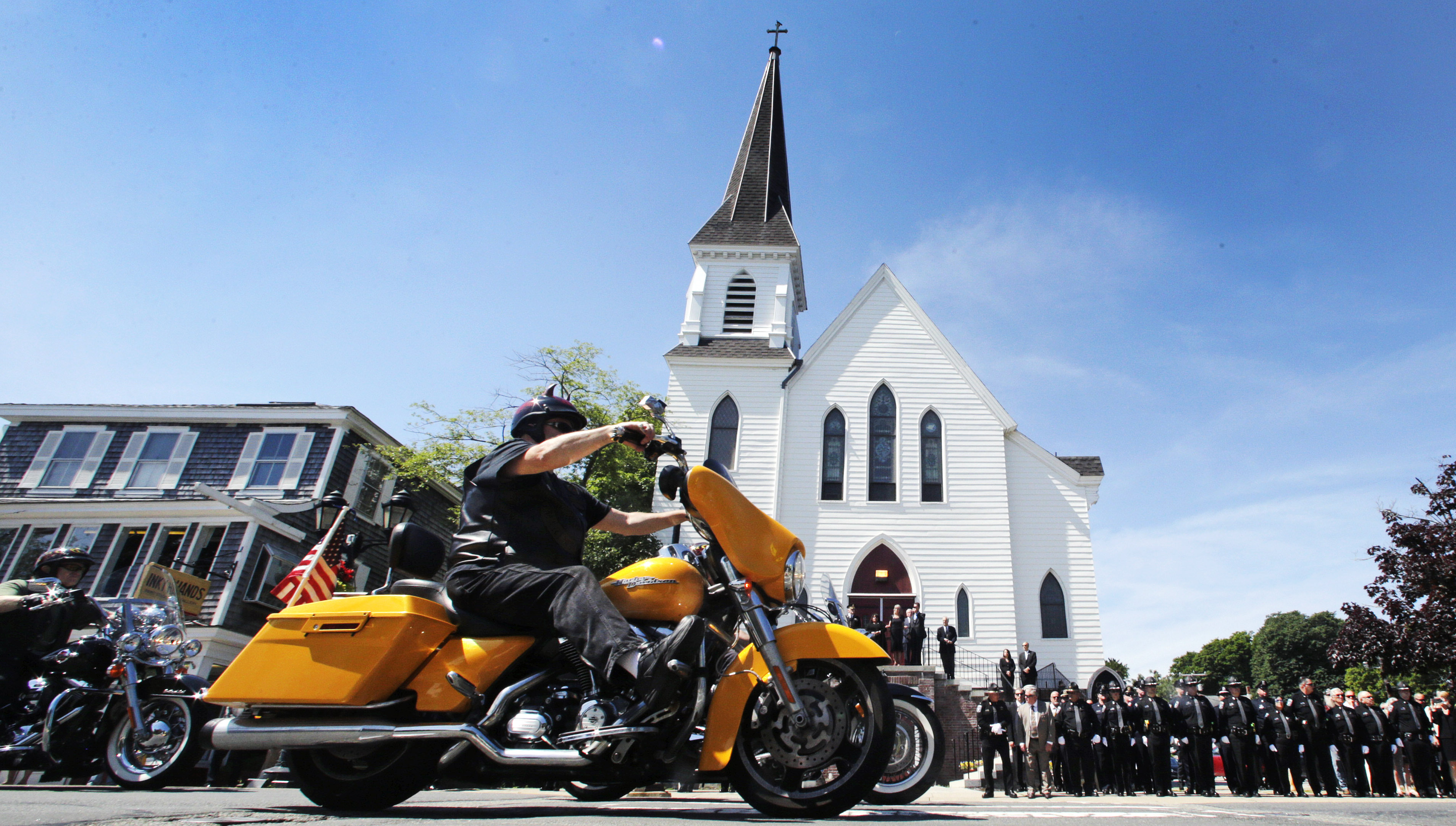 Bikers bidding farewell to those killed in pickup collision