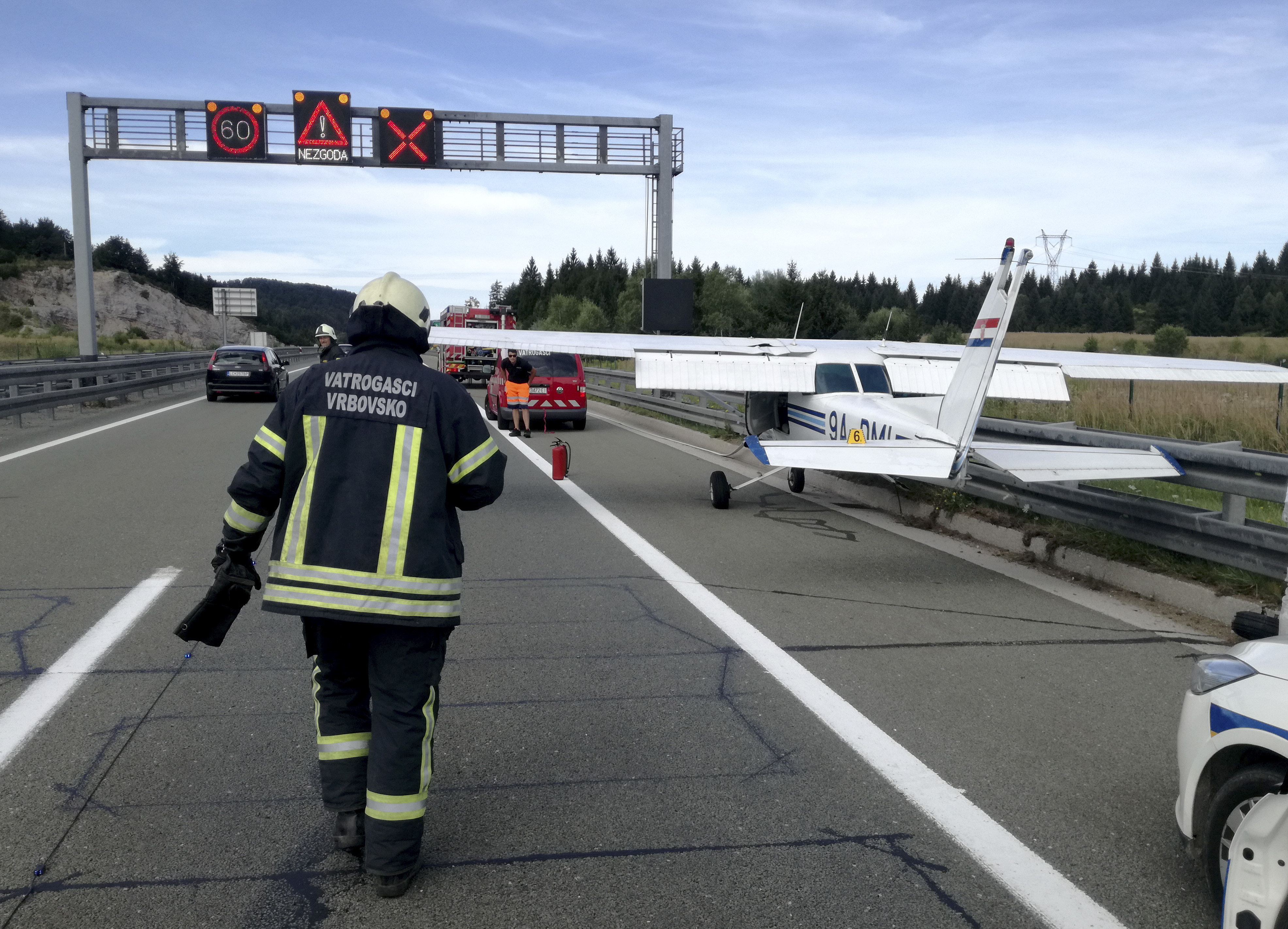 Small plane makes emergency highway landing in Croatia