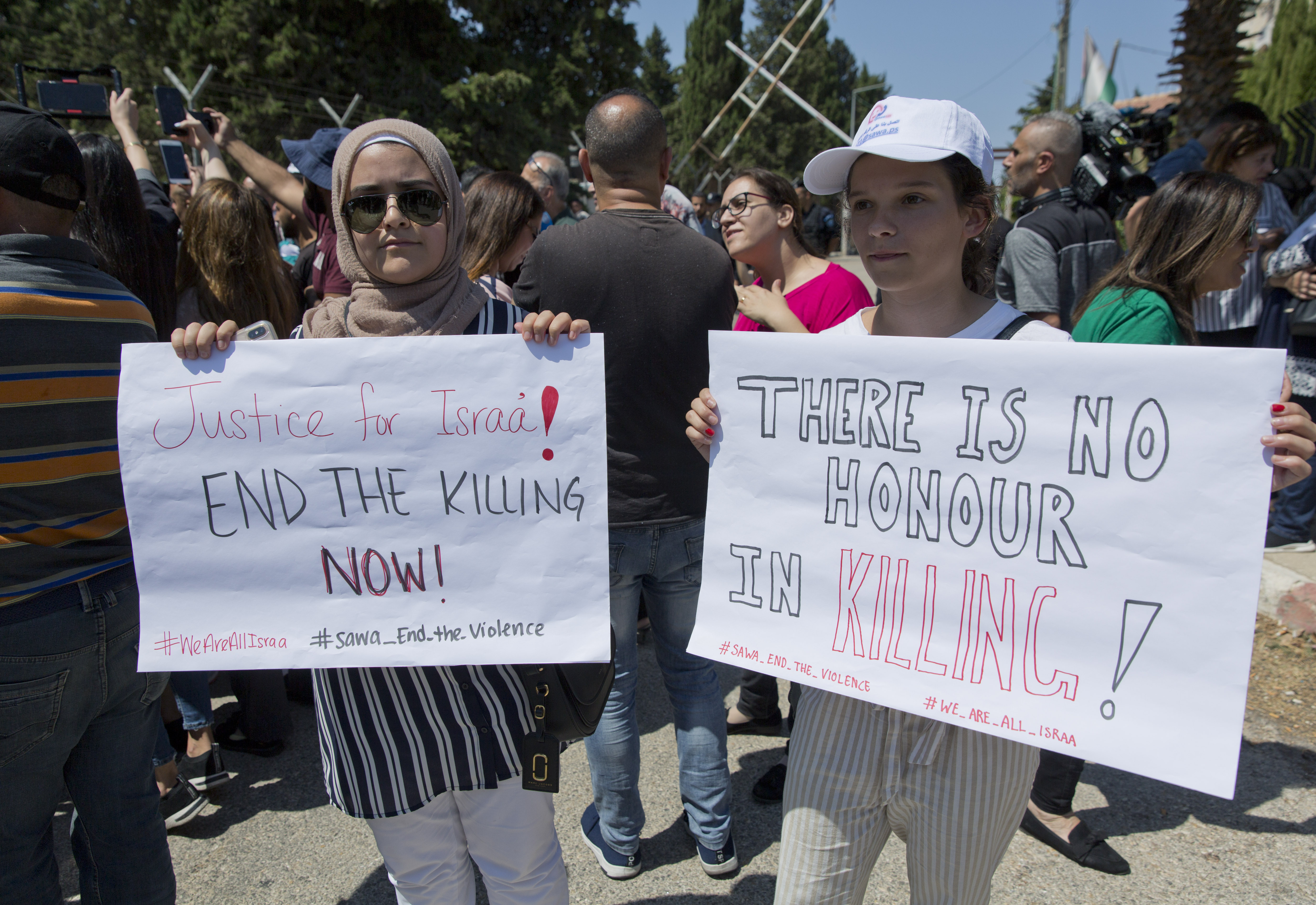 Palestinian women protest after suspected honor killing