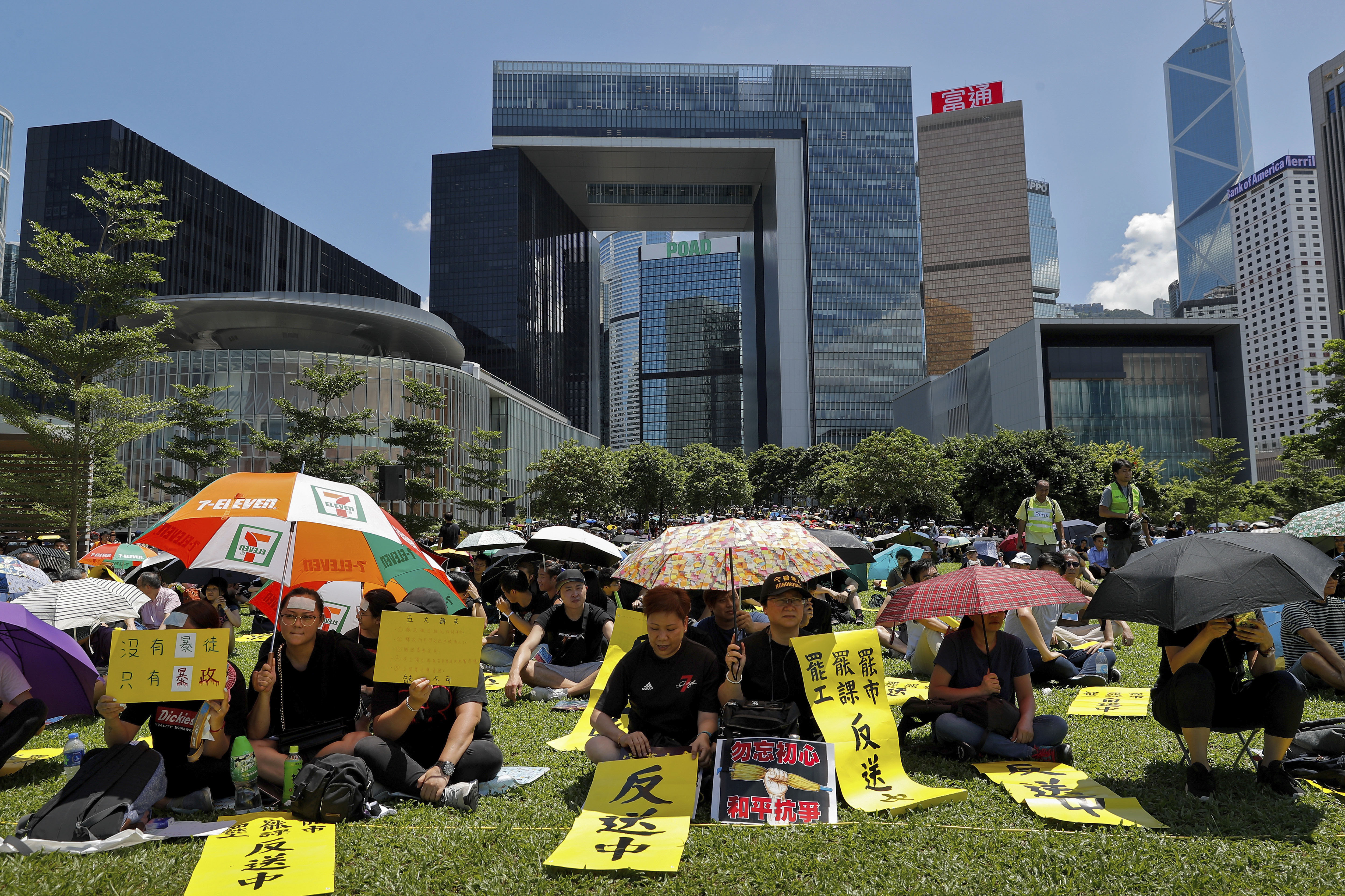 The Latest: Protesters fill public spaces in Hong Kong
