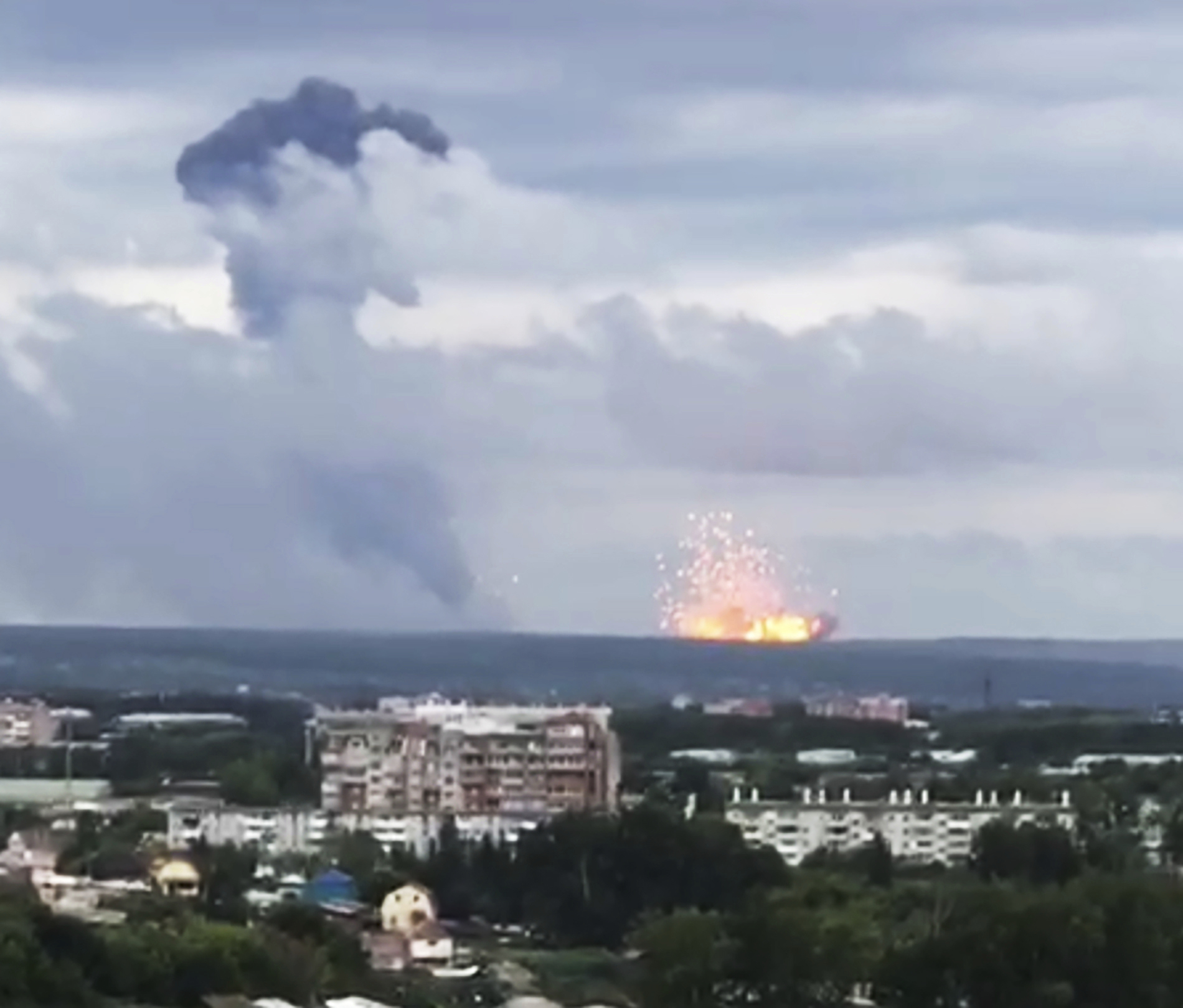 Thousands evacuated after explosions at Russia ammo depot