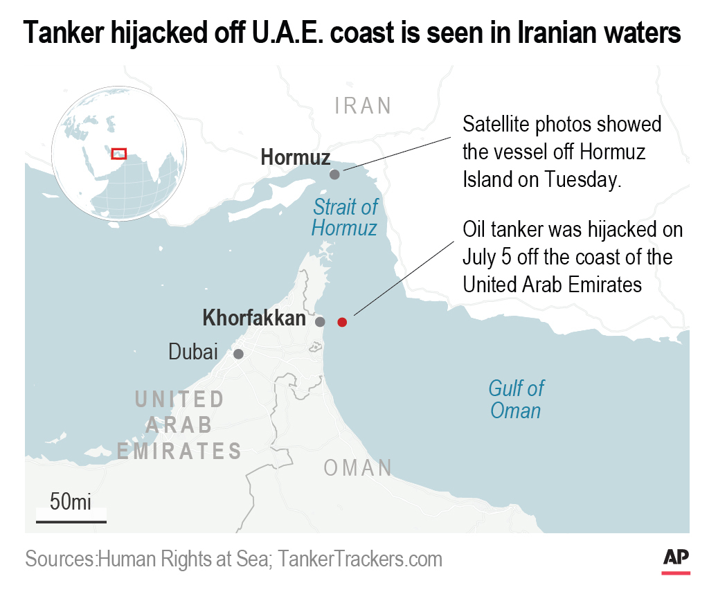 UN agency: US-sought tanker hijacked off UAE now in Iran