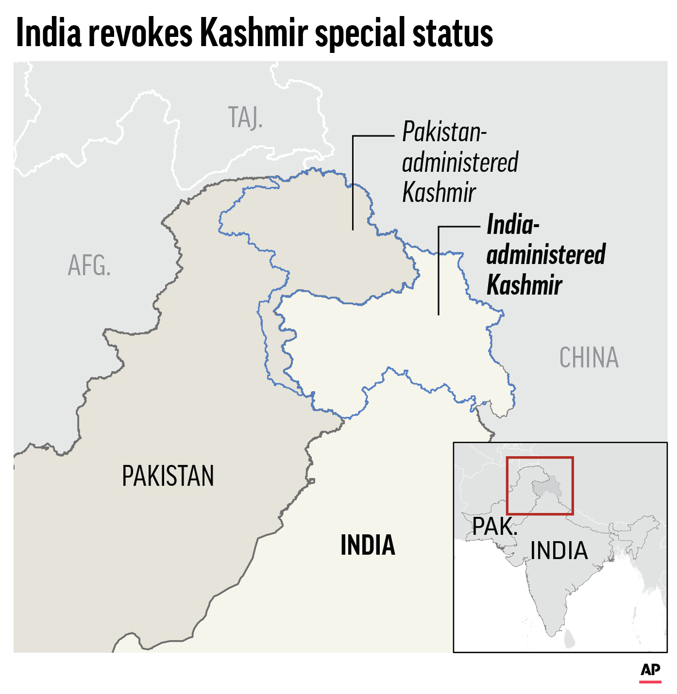 The Latest: China concerned with rising tension over Kashmir