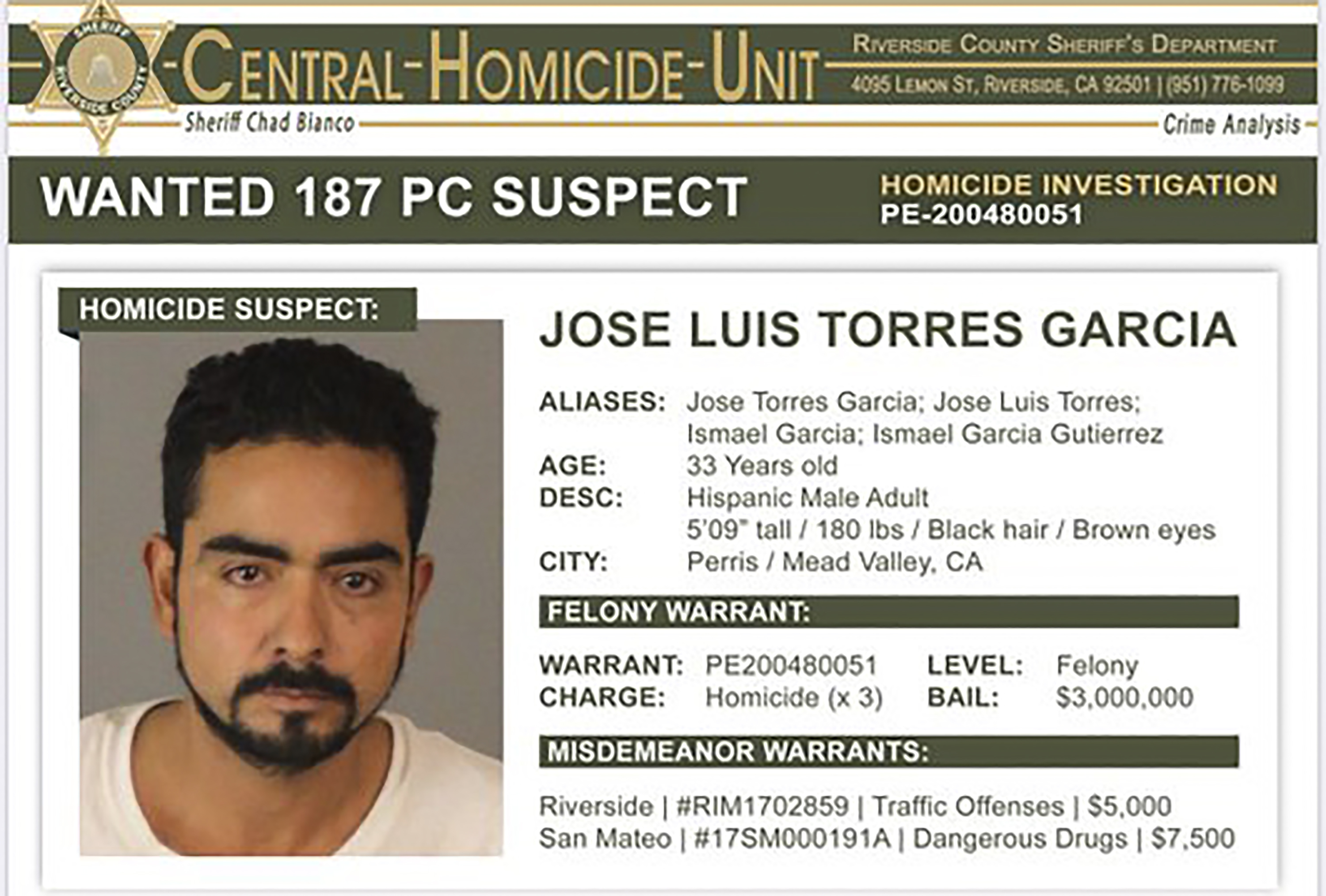 Police search for man after 3 bodies found in California