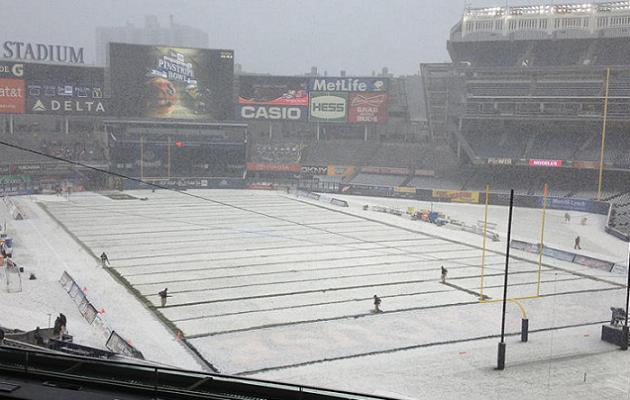 Cool Photo Snow Covered Yankee Stadium Plays Host To