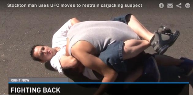 Ufc Fan Uses Guillotine Choke To Hold Off Attempted