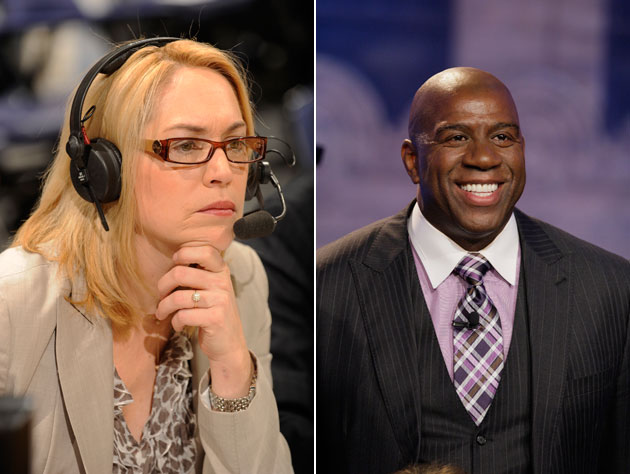 magic johnson is out and doris burke is in as espn�s �nba