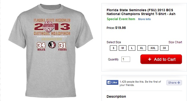 Florida State official online store puts incorrect score ...
