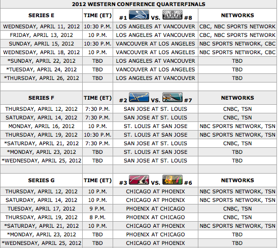 Your 2012 Stanley Cup Playoff first-round TV schedule
