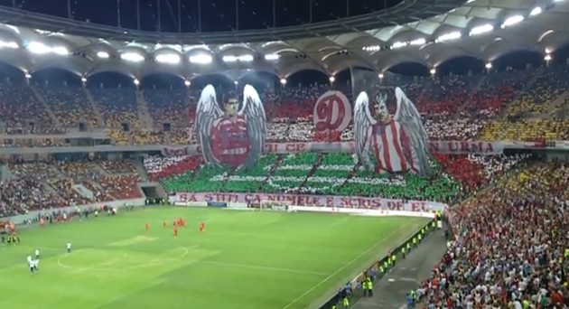 Romanian derby starts with impressive tifo tribute, even better goal