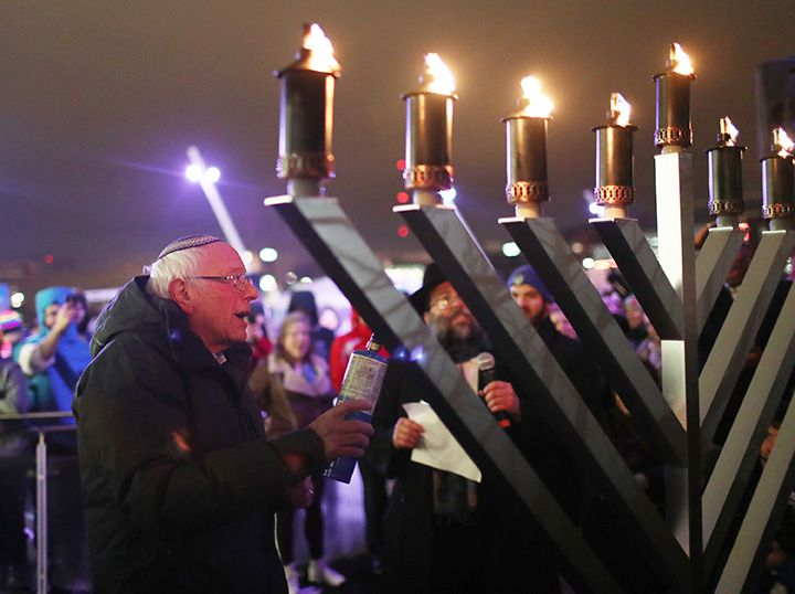 Bernie Sanders Condemns Rise of Anti-Semitism in Iowa Menorah Lighting