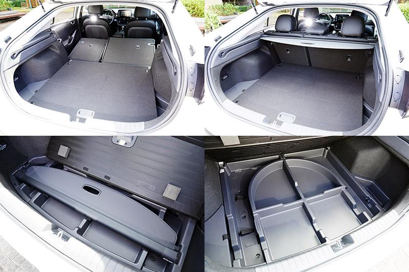 Ioniq Hybrid行李廂空間也有高水準表現,而且行李廂底板下還有置物空間,行李廂捲簾卸下後也可放置於此,相當方便。