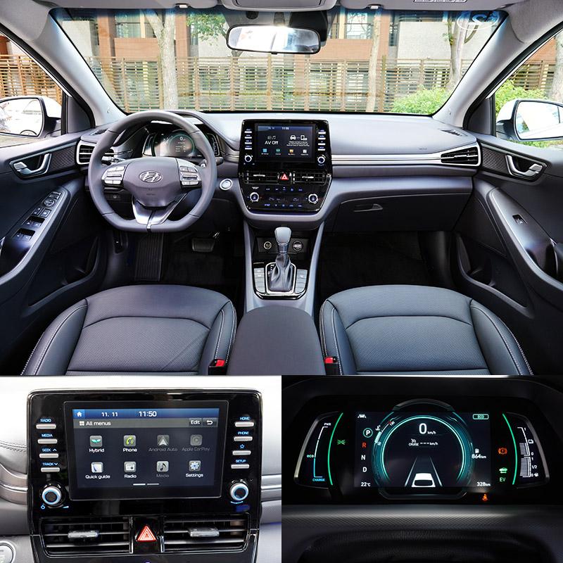 車內陳設是Ioniq Hybrid改款改變最多的地方,整個中控台完全更新,從原本比較偏一體式的中控台改為當前比較流行的懸浮螢幕式設計。