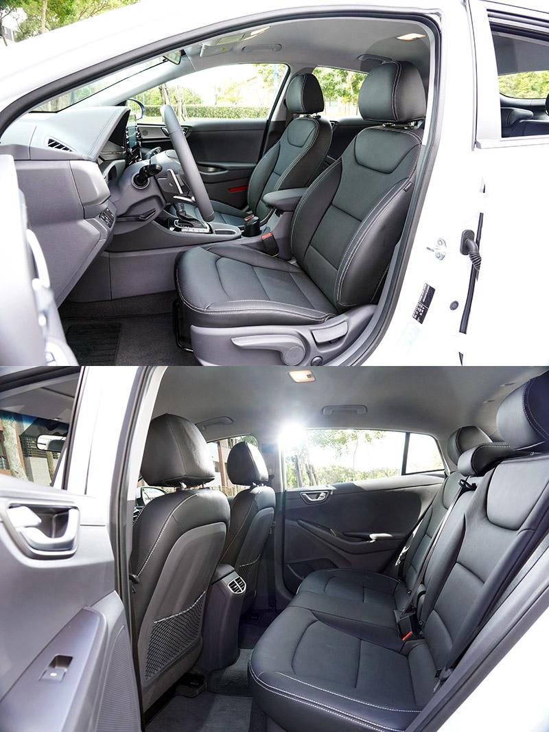 Ioniq Hybrid空間上與當前市場上所有中型掀背車與房車相比有進入前段班的成績。