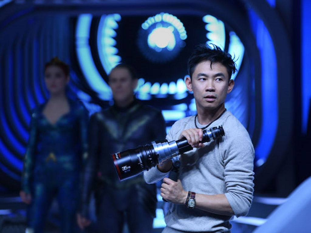 "James Wan, seen here directing ""Aquaman"", is developing a monster movie for Universal."